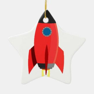 Red Rocket Blast Off Ceramic Star Decoration