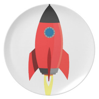 Red Rocket Blast Off Party Plates