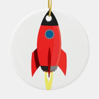 Red Rocket Blast Off Round Ceramic Decoration