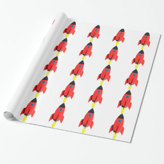Red Rocket Blast Off Wrapping Paper