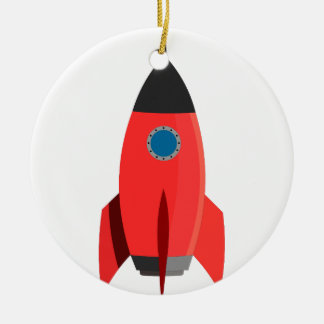 Red Rocket Round Ceramic Decoration