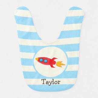 Red Rocket Space Ship; Light Blue Stripes Bib