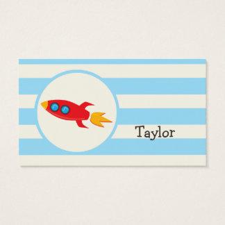 Red Rocket Space Ship; Light Blue Stripes Business Card