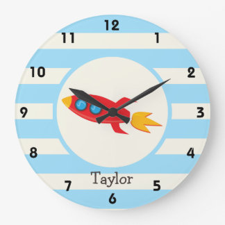 Red Rocket Space Ship; Light Blue Stripes Large Clock
