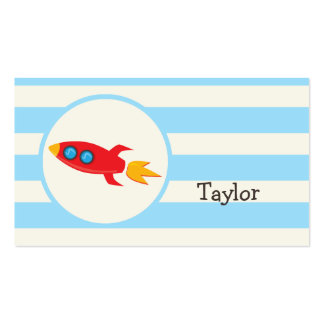 Red Rocket Space Ship; Light Blue Stripes Pack Of Standard Business Cards
