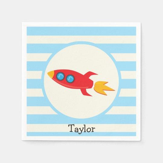 Red Rocket Space Ship; Light Blue Stripes Paper
