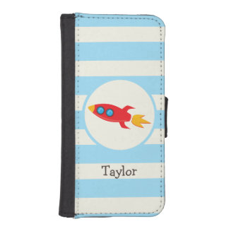 Red Rocket Space Ship; Light Blue Stripes iPhone 5 Wallet Cases