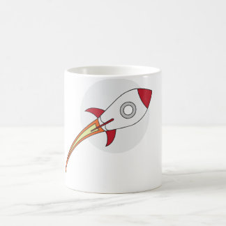 Red Rocketship Basic White Mug