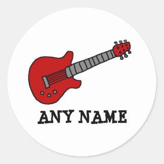Red Rockin' Guitar Round Sticker