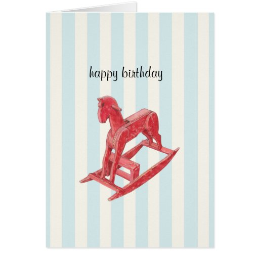 Red Rocking Horse stripes Birthday Card