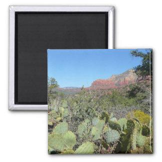 Red Rocks and Cacti I in Sedona Arizona Square Magnet