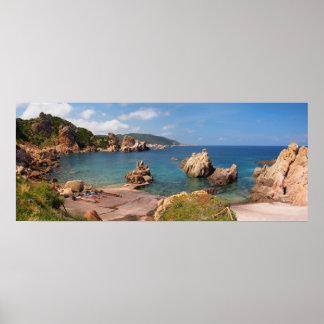 Red rocky coast of Sardinia Poster