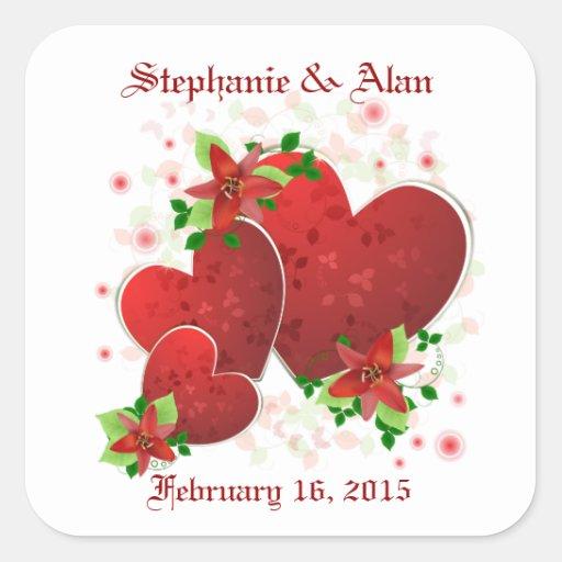 Red Romance Hearts Wedding Stickers