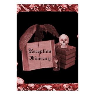 Red Romance Skull Spellbook Wedding Business Cards