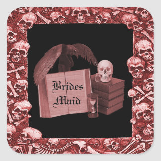 Red Romance Skull Spellbook Wedding Square Sticker