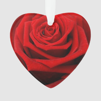 Red romantic valentine rose ornament