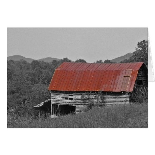 red roof barn card