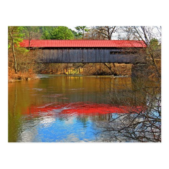 Red Roof Reflects - Coombs Covered Bridge Postcard