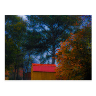 Red Roofed Shed in Fall Postcard