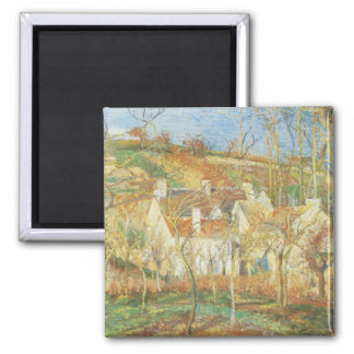 Red Roofs, Corner of a Village, Winter by Pissarro Square Magnet