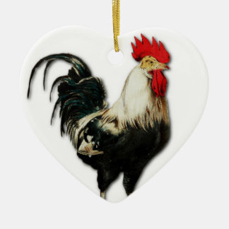 Red Rooster Chicken Customize Ceramic Heart Decoration