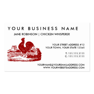 Red Rooster Old Farmhouse Vintage Business Card Templates