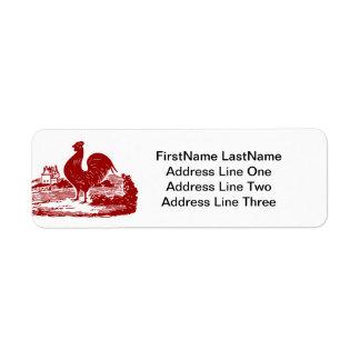 Red Rooster Old Farmhouse Vintage Return Address Label
