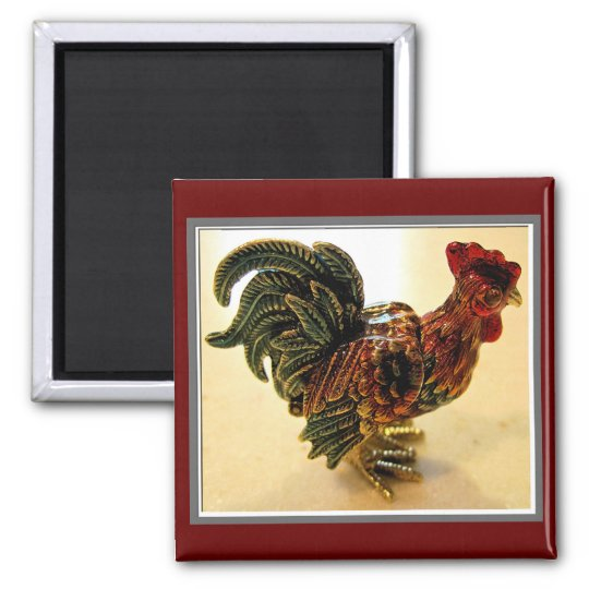 Red Rooster Square Magnet