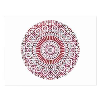 red root chakra circle mosaic postcard