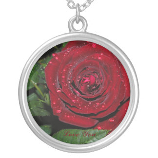 Red Rose #2 Round Pendant Necklace