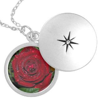 Red Rose #2 Round Locket Necklace