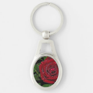 Red Rose #2 Silver-Colored Oval Key Ring