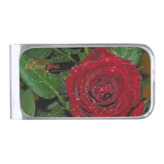 Red Rose #2 Silver Finish Money Clip