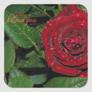 Red Rose #2 Square Sticker