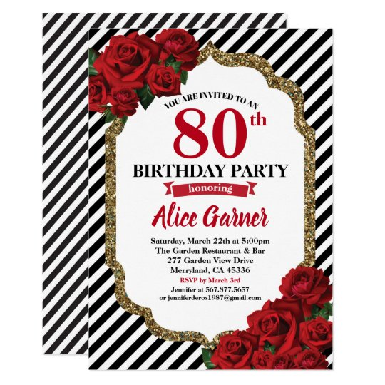 Red Rose 80th Birthday Invitation For Women