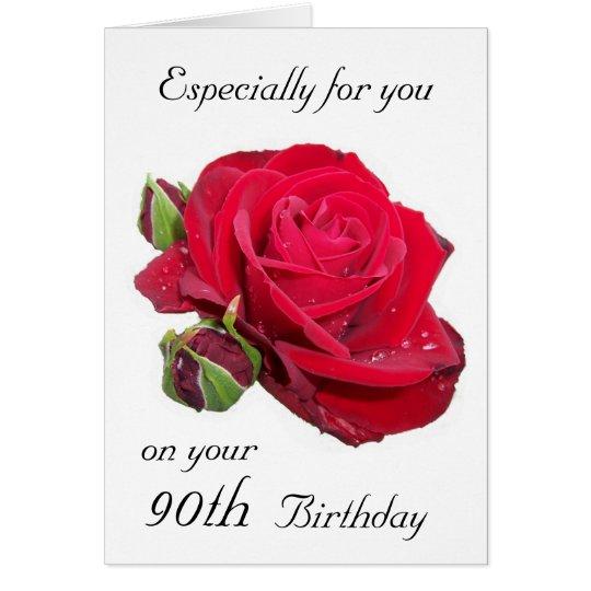 Red Rose 90th Birthday Card