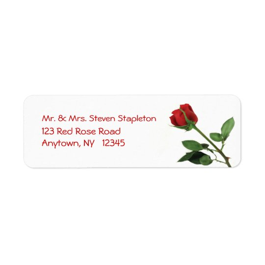 Red Rose Address Label