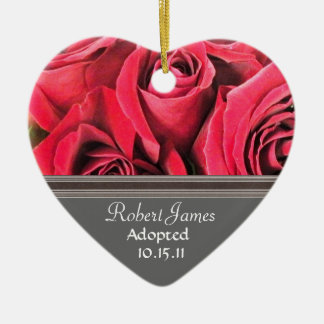 Red Rose Adoption Announcement Christmas Ornament