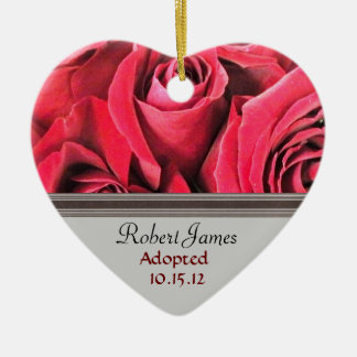Red Rose Adoption Announcement Christmas Ornaments
