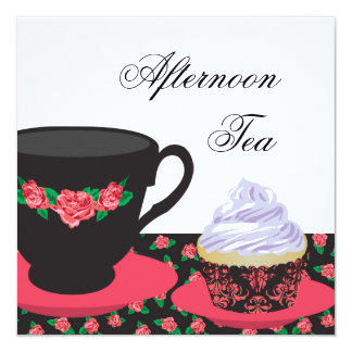 Red Rose Afternoon Tea 13 Cm X 13 Cm Square Invitation Card