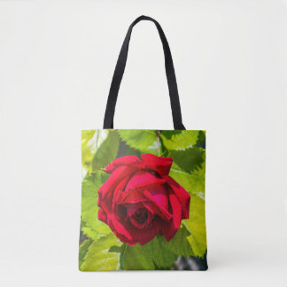 Red rose all-over-print tote bag