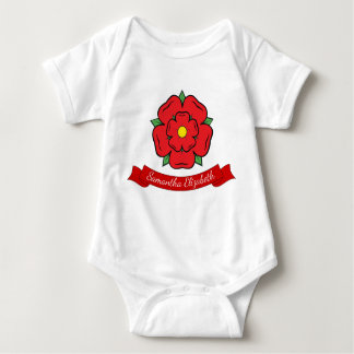 Red rose and Baby Name Baby Bodysuit