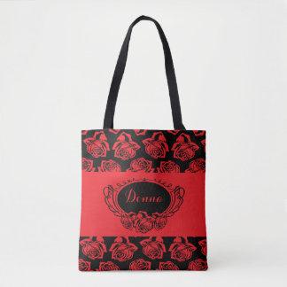 Red Rose and Black Tote Bag
