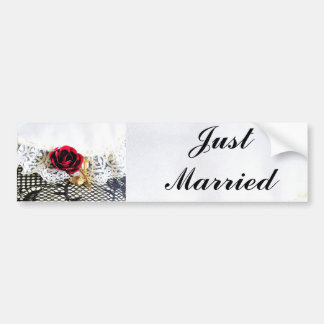 Red rose and brides wedding garter car bumper sticker