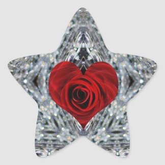 Red Rose and crystals Star Sticker