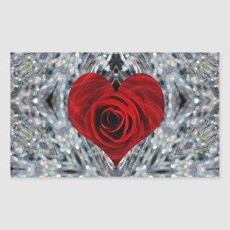 Red Rose and crystals Stickers