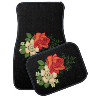 Red Rose and Daisies Black Background Car Mat