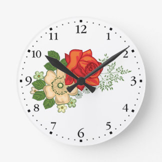 Red Rose and Daisies Clockface 1 Black Round Clock