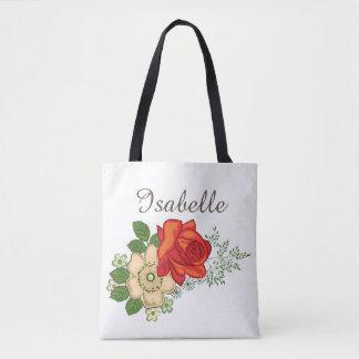 Red Rose and Daisies Tote Bag