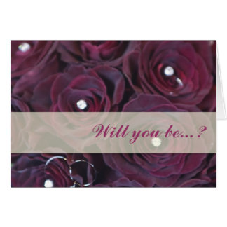 Red rose and diamond Will you bemy bridesmaid card
